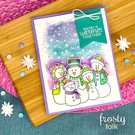 Snowman Card by Jennifer Jackson | Frosty Folks Stamp Set, Frosty Folks Die Set and Petite Snow Stencil by Newton's Nook Designs #newtonsnook #handmade