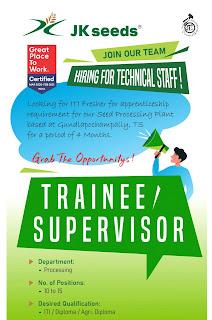 Iti / Diploma / Agri. Diploma Candidates Hiring for Technical Staff in Jk Agri Genetics Ltd Gundlapochampally - Telangana