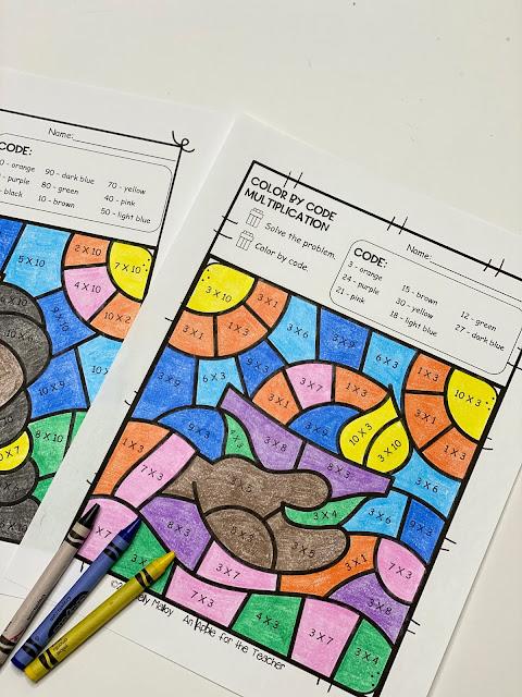 Diwali Multiplication Color By Number Worksheet bowl