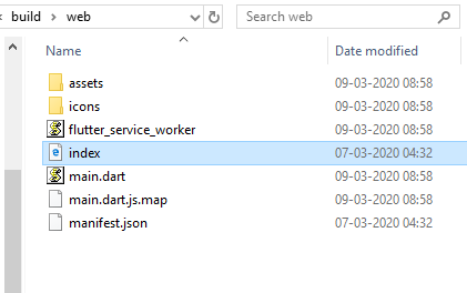 flutter web project source file structure.
