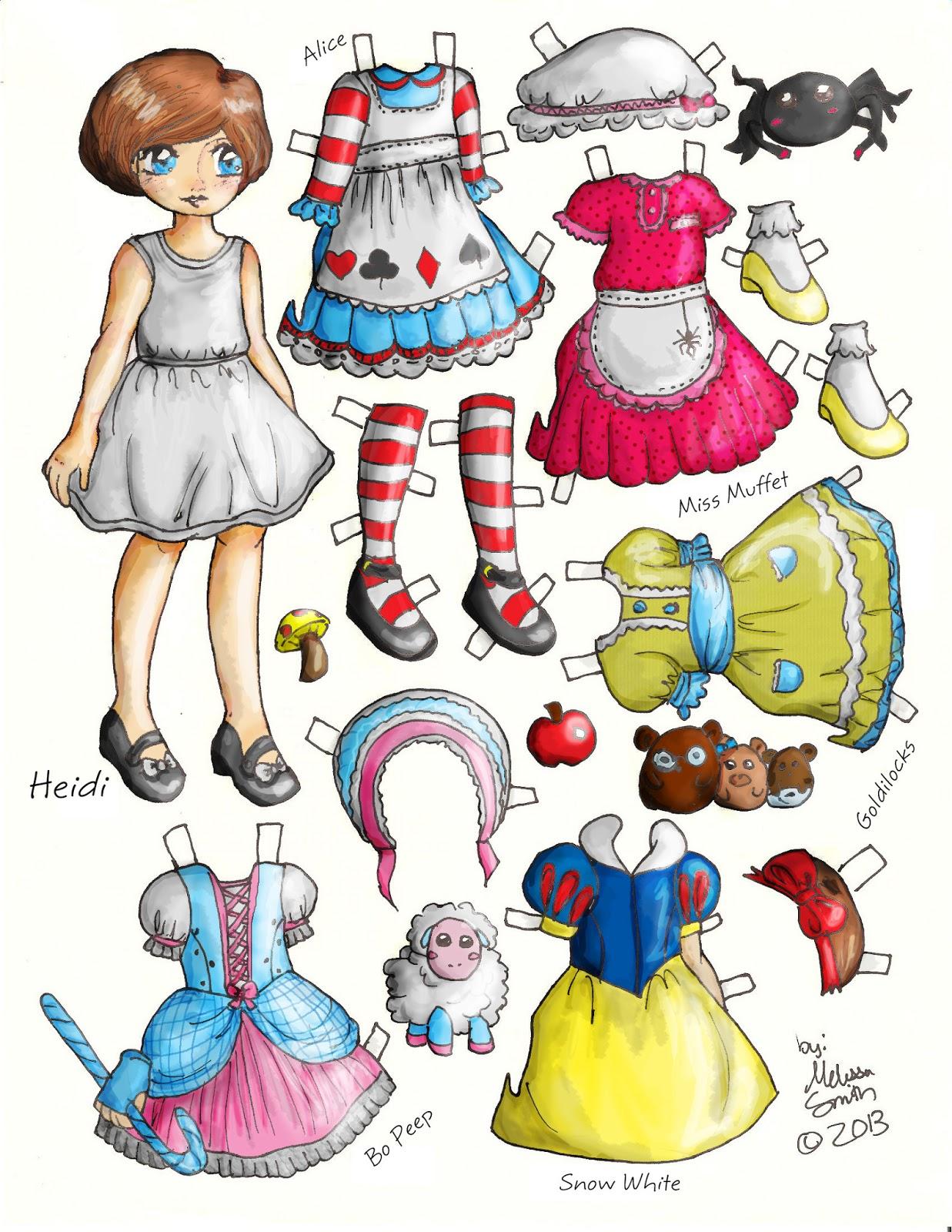 Miss Missy Paper Dolls: Heidi Fairy Tale Style paper doll