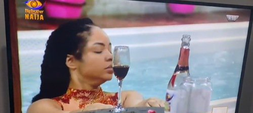 #BBNaija: Nengi seen sipping wine and swimming excitedly shortly after Ozo's eviction (Video)
