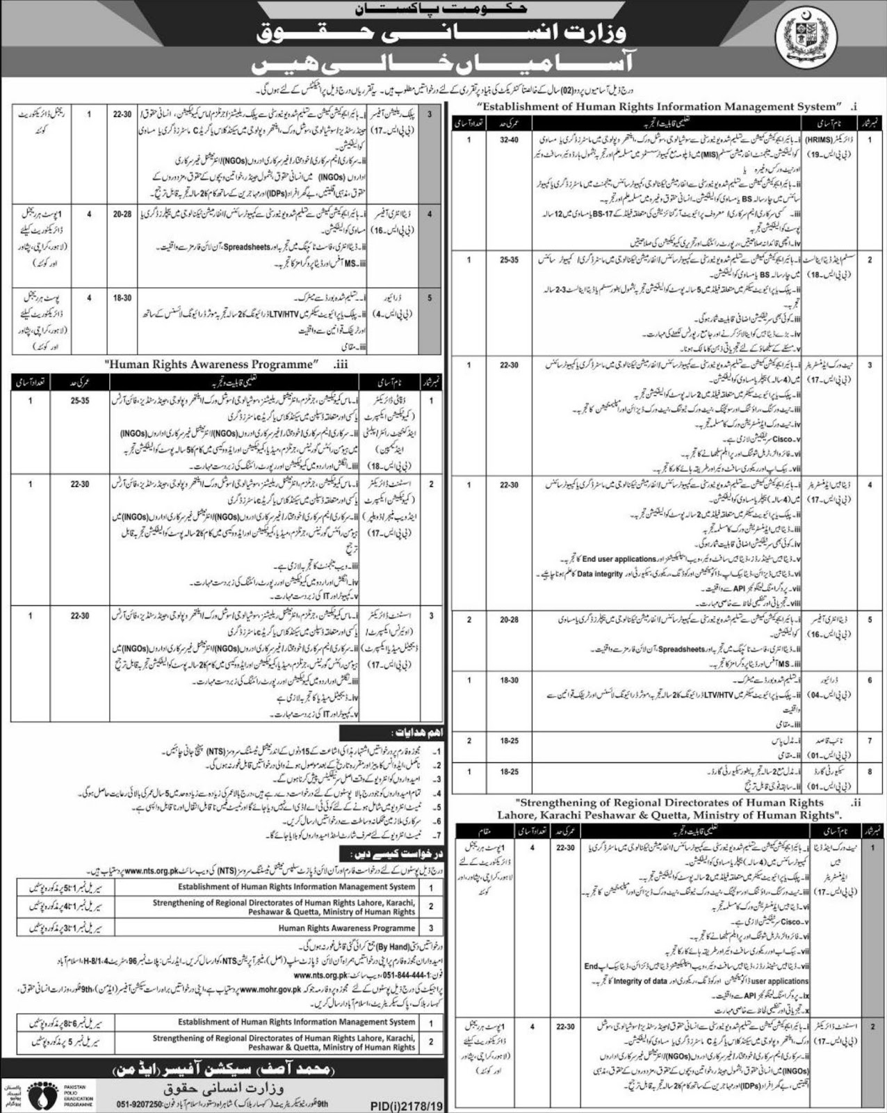 Ministry of Human Rights Jobs 2019 Apply via NTS Testing Service