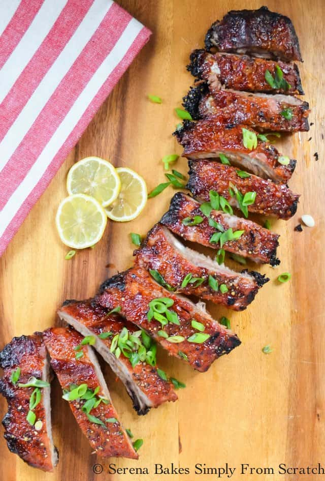 Sticky Sweet and Sour Pork Spare Ribs or Baby Back Ribs are a family favorite main course or appetizer! Great for tailgating parties from Serena Bakes Simply From Scratch.