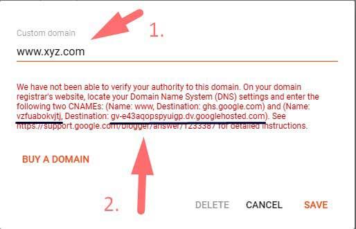 blogger me domain add karne ke liye name and points to add kare