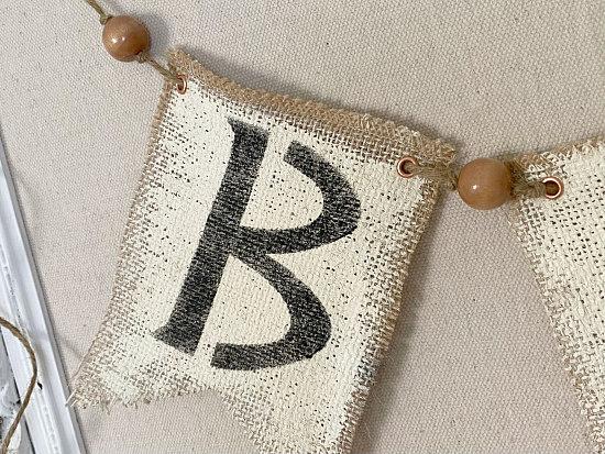 B stenciled burlap banner