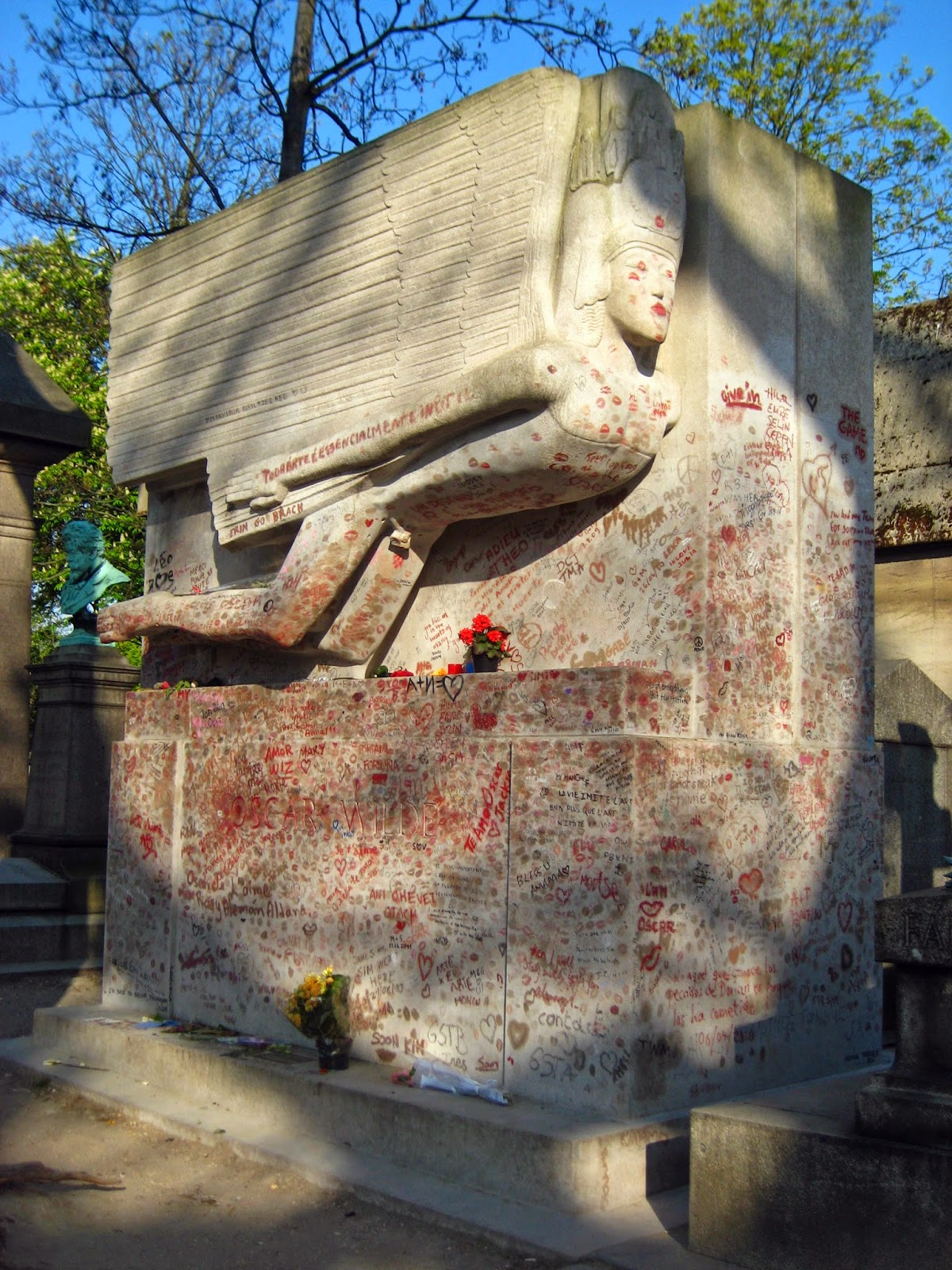 Oscar Wilde grave site at the Pere Lachaise Cemetary Paris, France