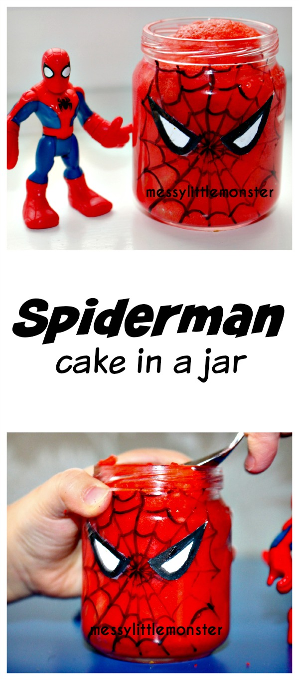 Spiderman microwave cake in a jar. A simple recycled baby jar craft for kids. Superhero fans will love this tasty activity! A fun craft for boys or party food idea.
