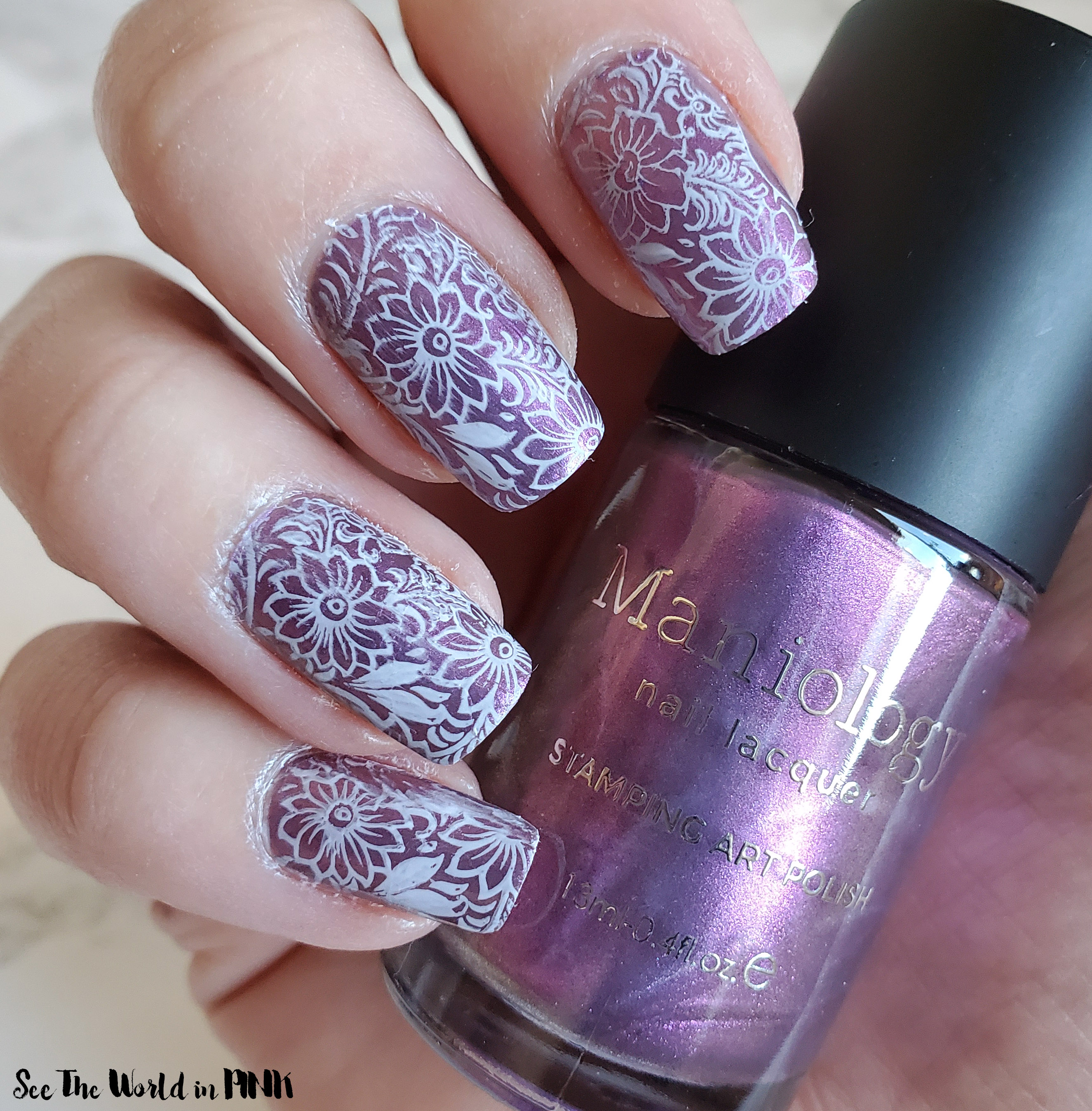 Manicure Monday - Purple Flower Stamped Nails