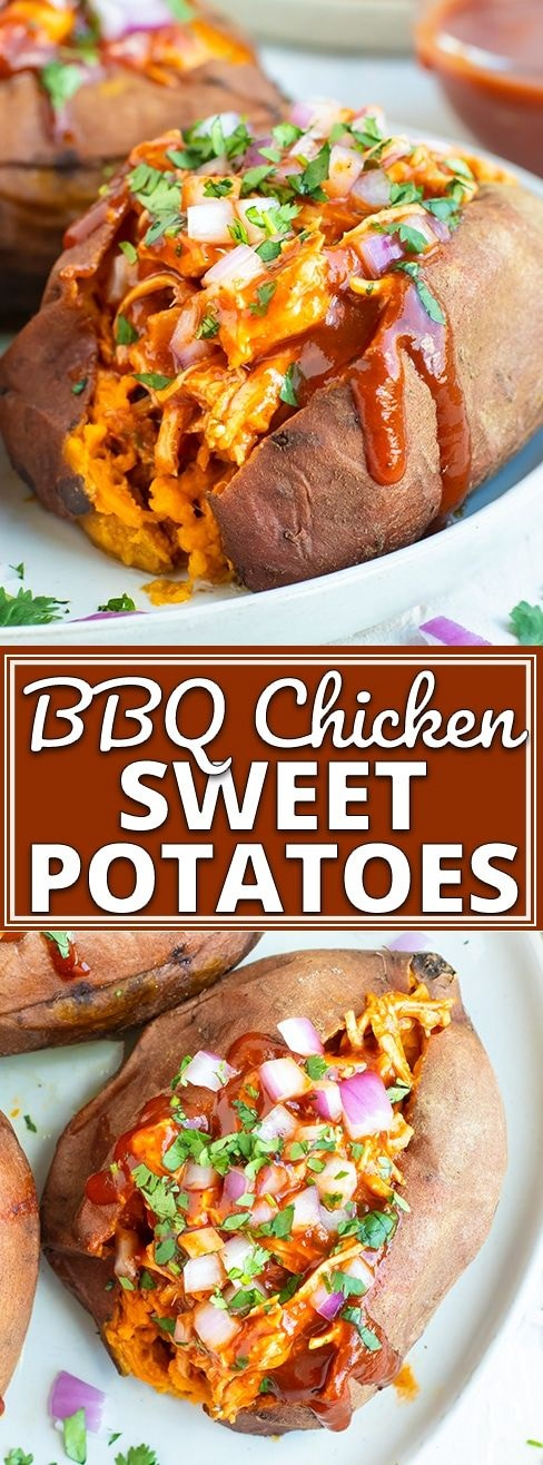 BBQ Chicken Stuffed Sweet Potatoes