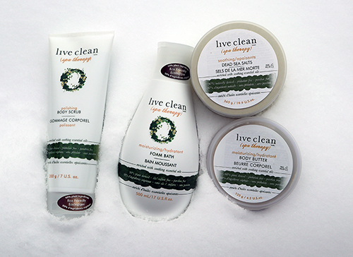 Relaxing with Live Clean Spa Therapy ~ #Review #Giveaway Dead sea salt  Polishing body scrub  Moisturizing body butter  Moisturizing foam bath