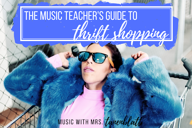 """A woman in a blue fur coat and sunglasses riding in a shopping cart with the heading """"The Music Teacher's Guide to Thrift Shopping"""""""
