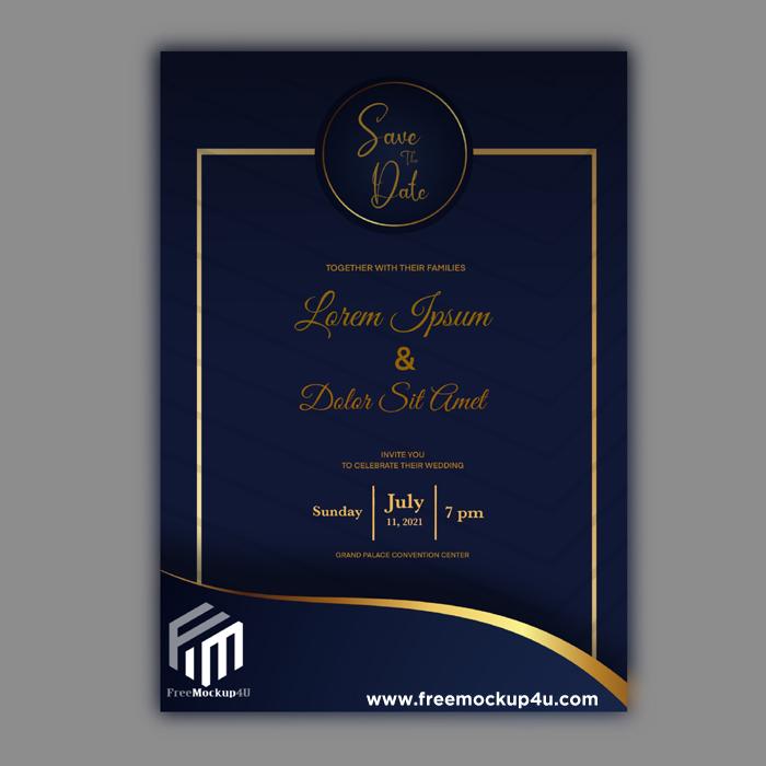 Luxury Golden and Blue Wedding Invitation Card Template Design