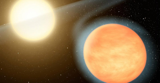 An artist created this illustration of the searing-hot gas planet WASP-12b and its star. A Princeton-led team of astrophysicists has shown that this exoplanet is spiraling in toward its host star, heading toward certain destruction in about 3 million years.  Illustration by NASA/JPL-Caltech