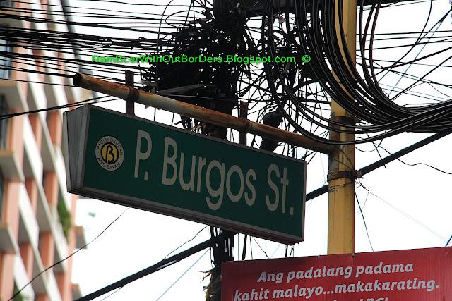 Street sign, P.Burgos Street, Makati, Manila, Philippines