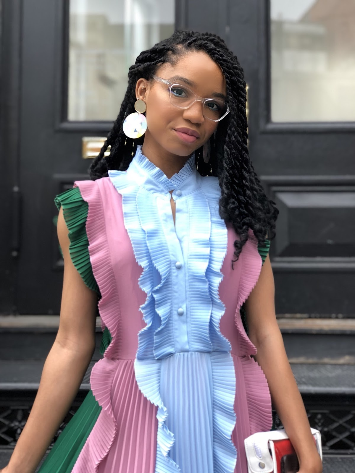 The Strong Suit, NYFW Outfit, New York Fashion Week Street Style, Spring/Summer NYFW 2020, Ruffles, Mutli-colored Dress, Midi Dress, Moon and Lola, NC Blogger
