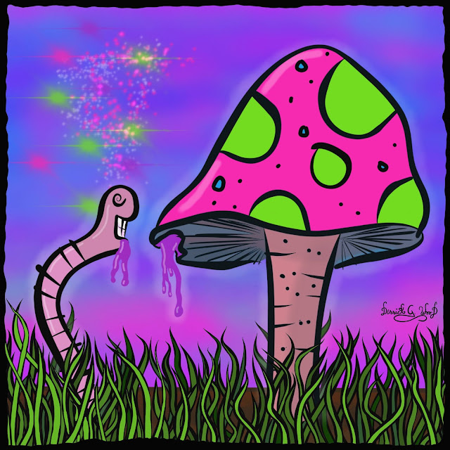 a trippy worm eating neon jelly from a psychedelic mushroom with fluorescent purple sky