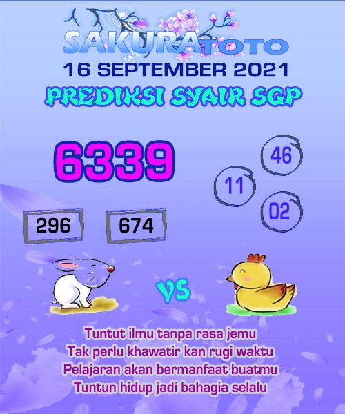 Syair Sakuratoto SGP Kamis 16 September 2021