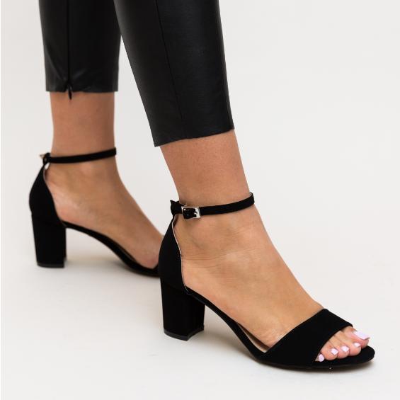 Sandale negre de zi cu toc gros mediu din piele eco intoarsa negre