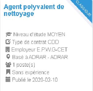 Agent polyvalent de nettoyage Employeur : E.P.W.G-CET