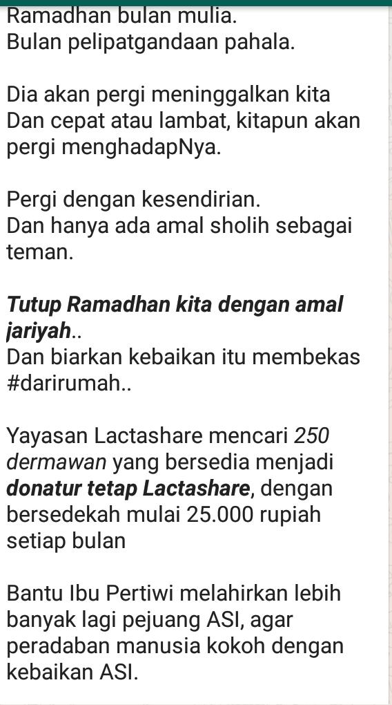 """Donasi by Lactashare """"Yayasan Lactashare mencari _250 dermawan_ yang bersedia menjadi _*donatur tetap Lactashare*_"""""""