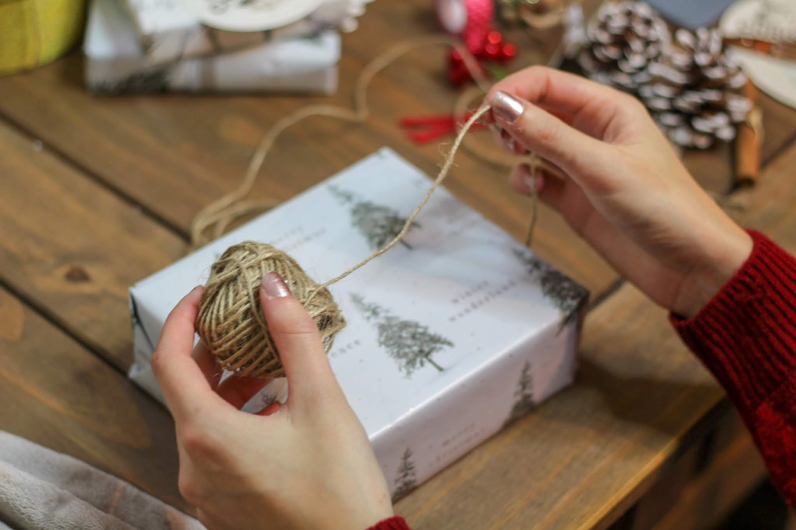 brown string christmas gift wrap
