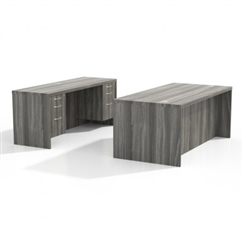Aberdeen Office Desk and Credenza in Gray Steel