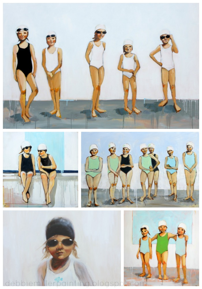 paintings of swimmers, contemporary art, figurative art, bathing caps,