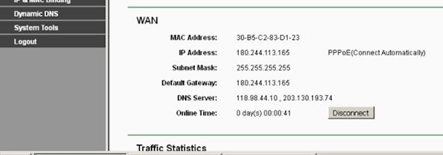 Cek IP public wan dihalaman status TP-link