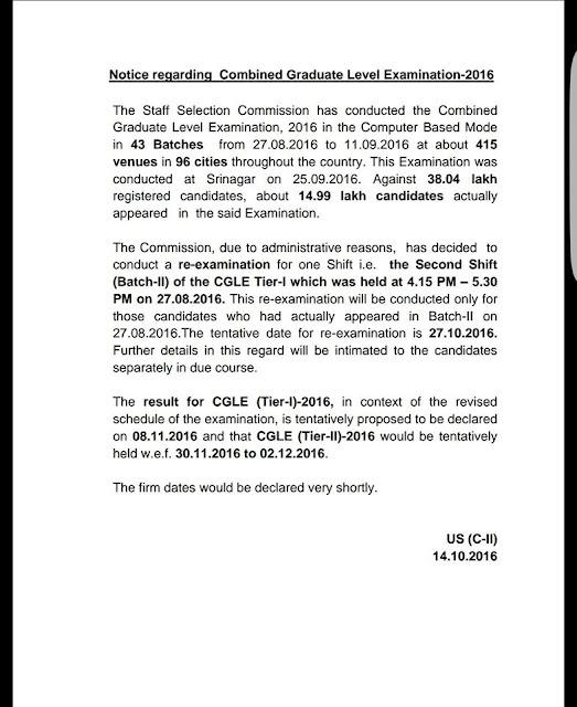 Notice Regarding SSC CGL Tier-1 2016 Result
