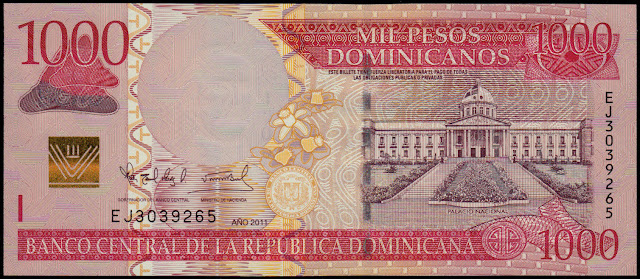 Dominican Republic currency 1000 Pesos Oro banknote 2011 National Palace of the Dominican Republic in Santo Domingo