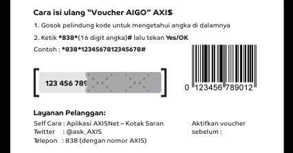 cara isi voucher axis internet
