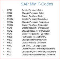 SAP-ERP MM-IM-WMS - Transaction Codes, SAP T Code