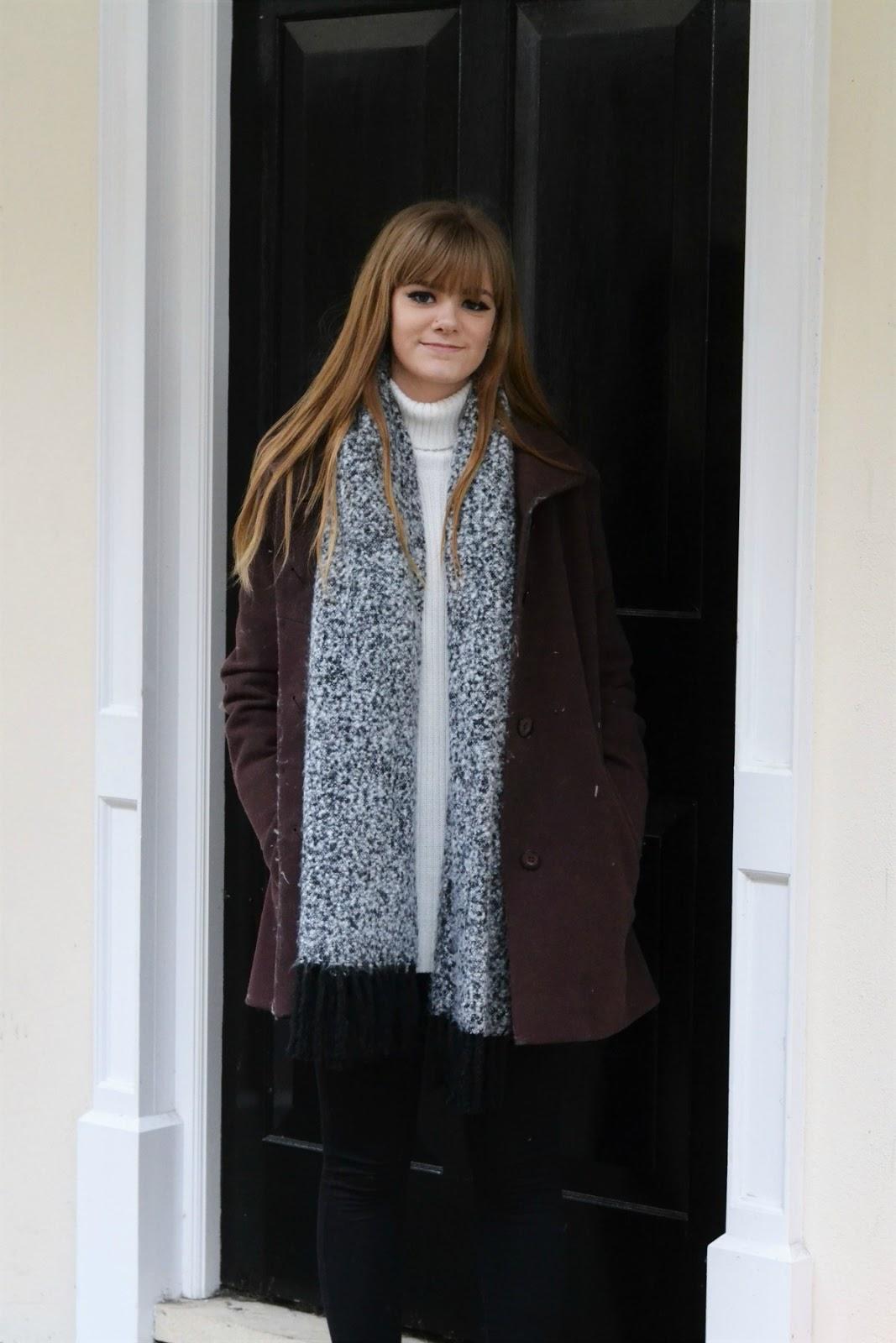 Burgundy Wool-Look Collar Coat