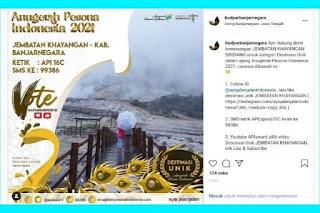 API Award 2021 : Destinasi Unik Jembatan Kayangan Kawah Sikidang Masuk Nominasi Anugerah Pesona Indonesia