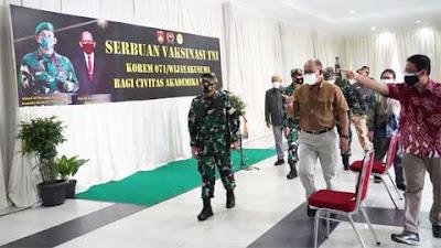 Korem 071/Wijayakusuma Laksanakan Serbuan Vaksin di Universitas Jenderal Soedirman