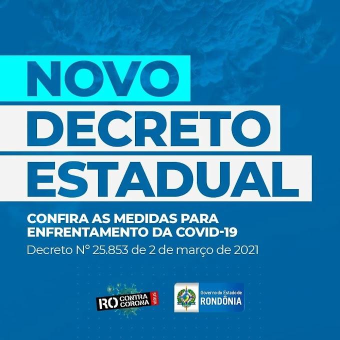 Novo Decreto a partir de quinta-feira (04), em Rondônia