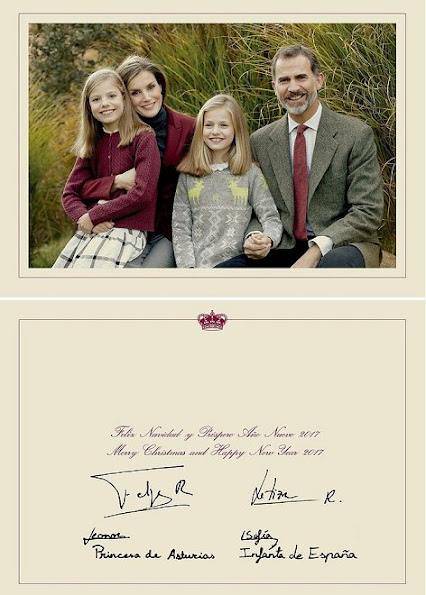 Spanish Royal Family, King Felipe, Queen Letizia, Princess Leonor and Princess Sofia. Merry Christmas and Happy New Year 2017