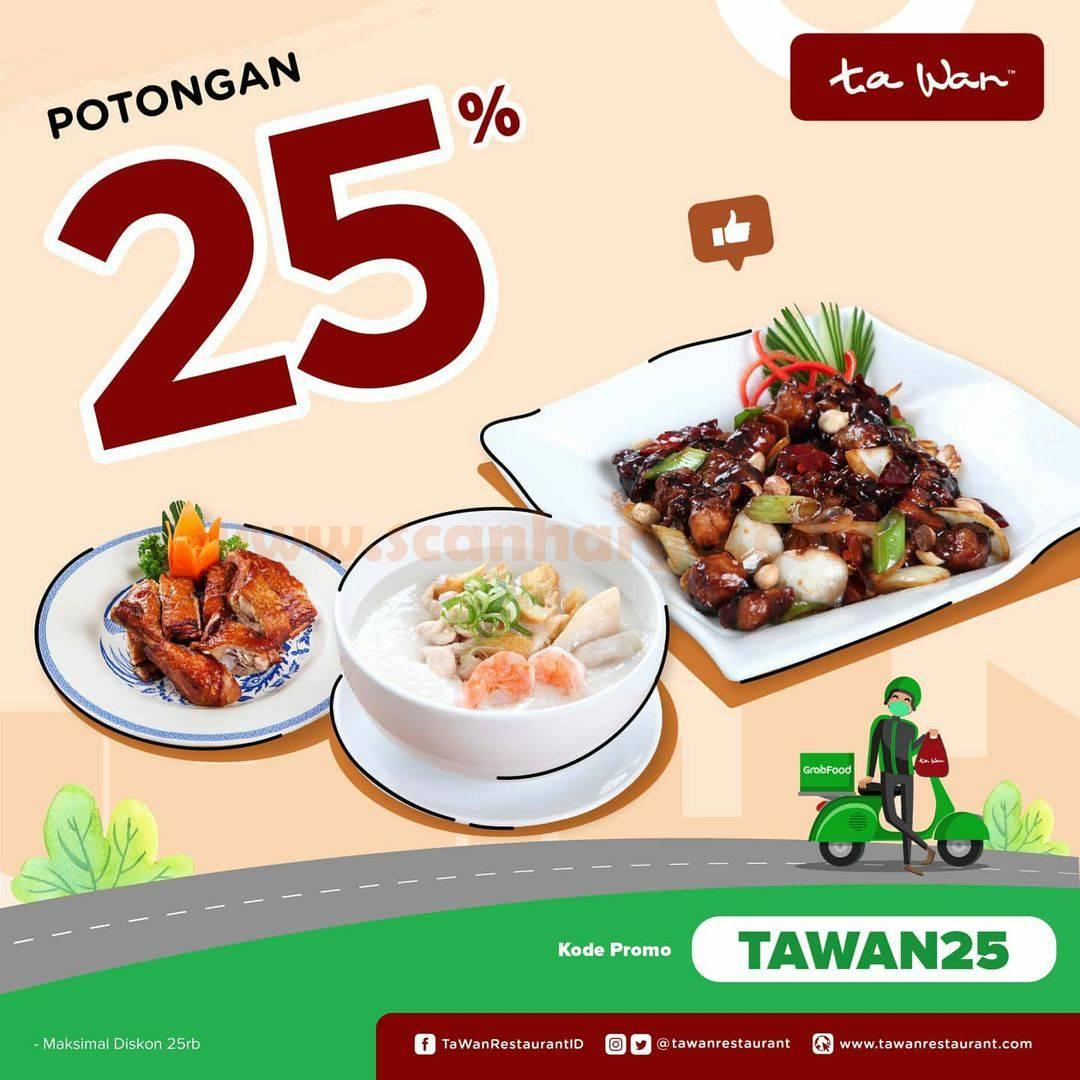 TA WAN Restaurant Promo Diskon 25% Khusus Pesan via Grabfood