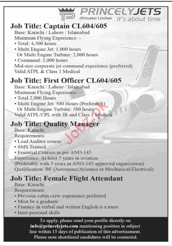 info@princelyjets.com - Princely Jets Jobs 2021 in Pakistan
