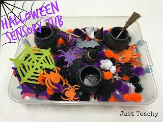 Halloween Sensory Tub, www.JustTeachy.blogspot.com