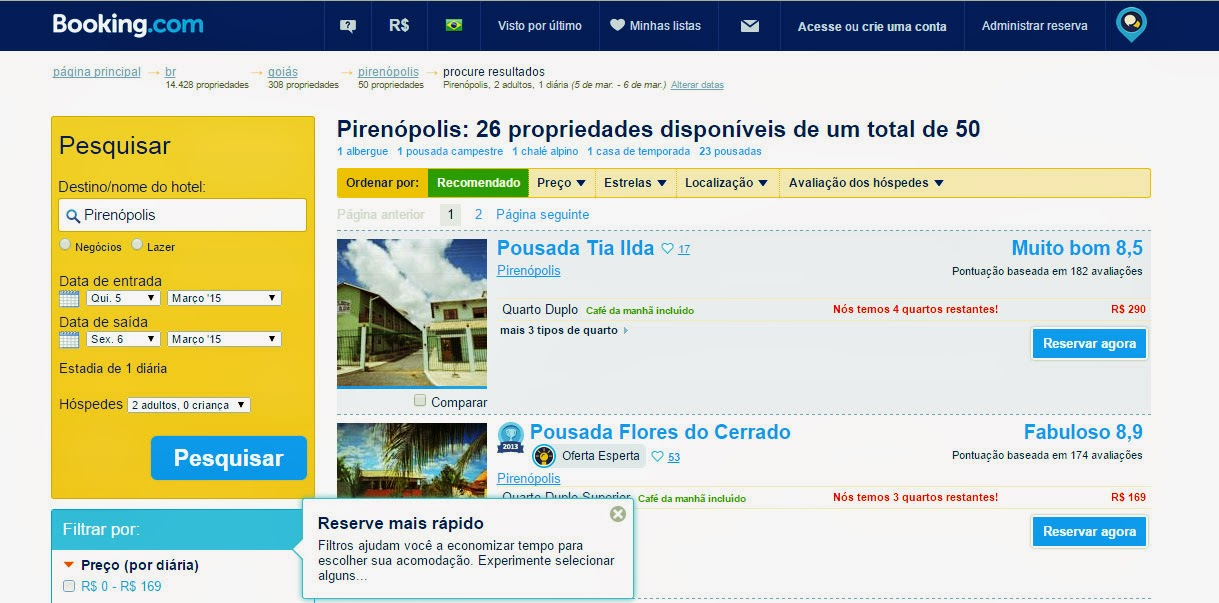 página do Booking