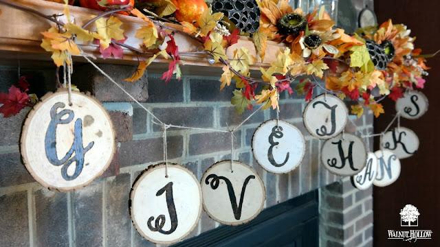 DIY Wood Burned Wood Slice Thanksgiving Garland by Dana Tatar for Walnut Hollow