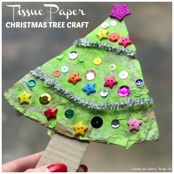 Tissue Paper Christmas Tree Craft