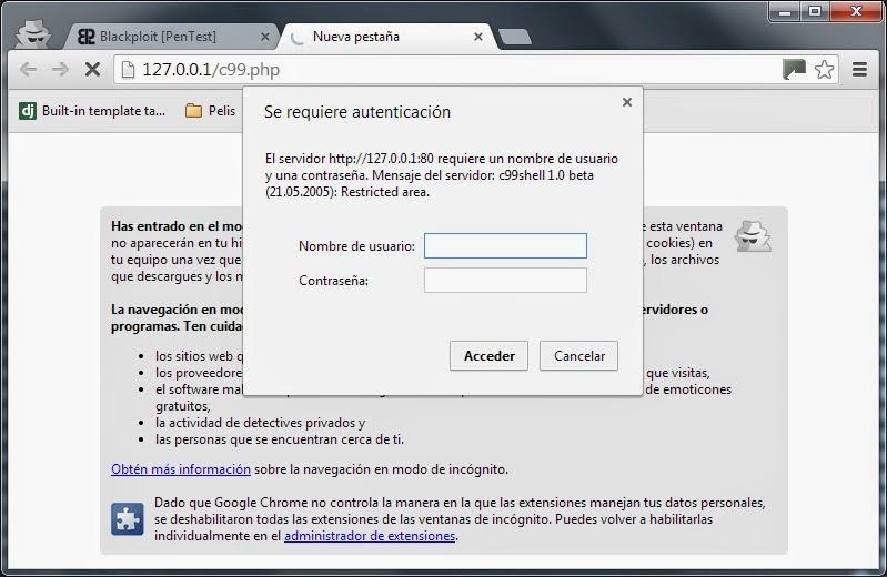 Backdoor en Shell C99 php (Bypass Password) ~ Blackploit