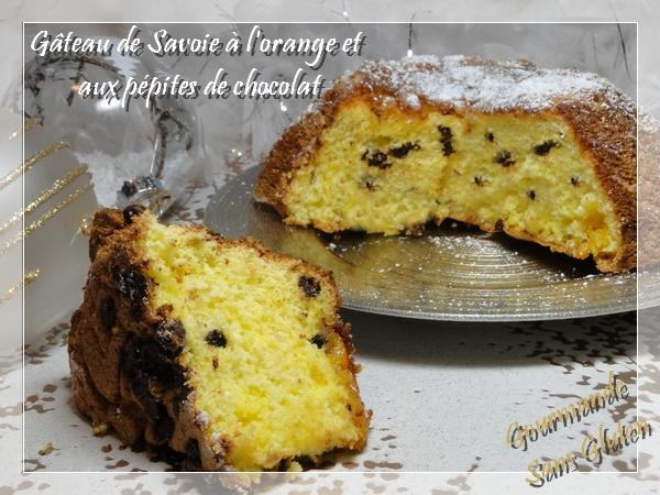Gâteau de Savoie à l'orange et aux pépites de chocolat sans gluten
