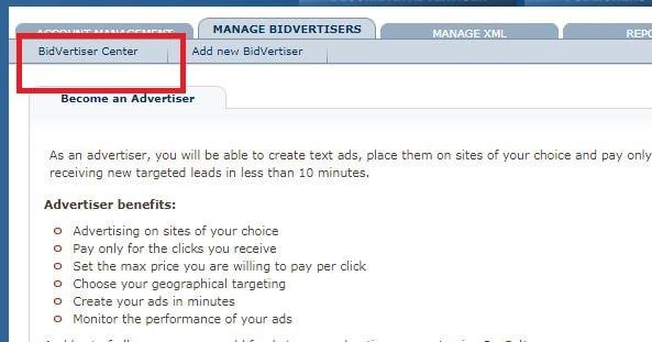 click on the bidvertiser center