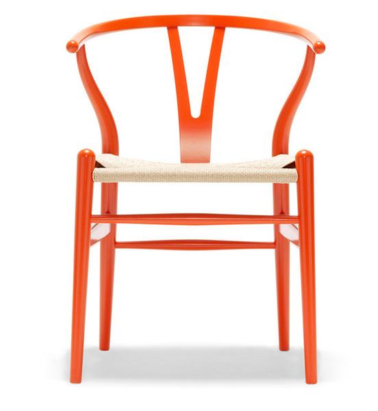 Orange lacquer classic Hans Wegner designed chair