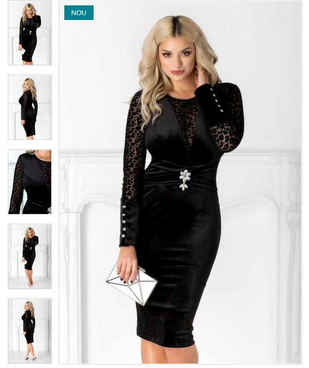 Rochie midi de catifea neagra eleganta  Maneci lungi cu animal print