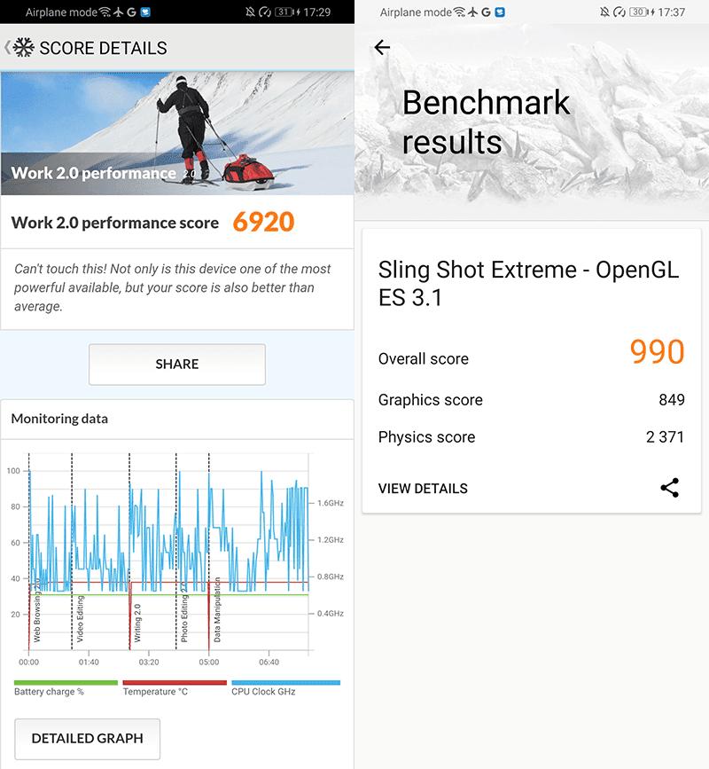 PCMark Work 2.0 performance and 3DMark Sling Shot Extreme
